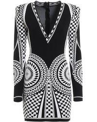 Balmain Two-tone Geometrical Knitted Dress - Black