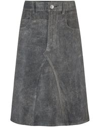 Étoile Isabel Marant Fiali Leather Skirt In Faded Black