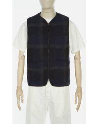 Universal Works - Plaid Fleece Zip Gilet In Black & - Lyst