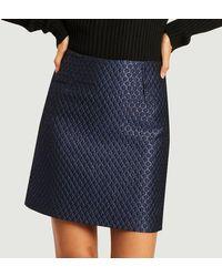 Erotokritos Katy Brocade Short Skirt Blue