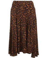 MASSCOB Charlotte Leopard Print Silk Skirt - Brown