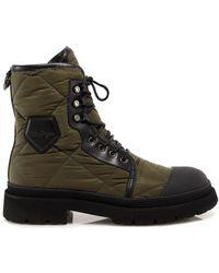 Ferragamo Quilted Combat Boots - Green