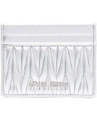 Miu Miu Leather Card Holder - Metallic