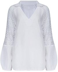 120% Lino Sequin And Lace Detail Shirt In White