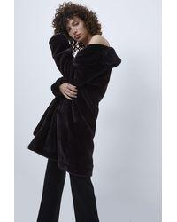 French Connection Banna Long Faux Fur Coat | - Black