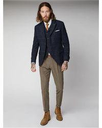 Gibson London Navy Shetland Herringbone Waistcoat - Blue