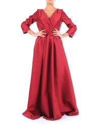 Alberta Ferretti Long Burgundy Dress - Red