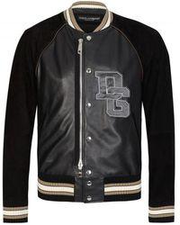 Dolce & Gabbana Applique Logo Leather Bomber - Black