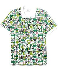 Lacoste X Jeremyville Croc Graphic Printed Polo Shirt White