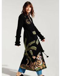 Hayley Menzies Roaring Tiger Cotton Jacquard Duster - Black