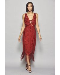 Frock and Frill Ilana Embellished Cross Back Flapper Dress With Fringing - Red