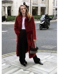 Yves Salomon Shearling Long Coat - Red