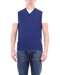 Zanone Knitwear V-neck Men Light Blue