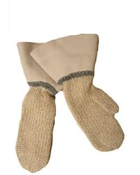 Brunello Cucinelli Women's Me4008788cy30o Beige Wool Gloves - Brown