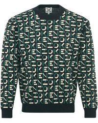KENZO Sport Logo Small Scale Knitted Crewneck Green