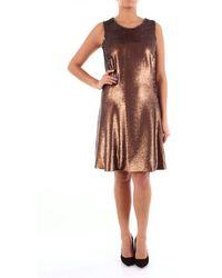 Alessandro Dell'acqua Sequined Bronze Colored Calf Dress - Metallic