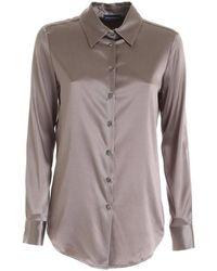 Paolo Fiorillo Capri Silk Shirt In Mud Color - Brown