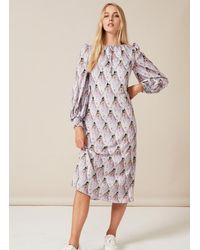 PHOEBE GRACE Jojo Midaxi Tie Neck Puffed Sleeve Dress With Shirred Cuff In Tiled Protea Bud - Purple