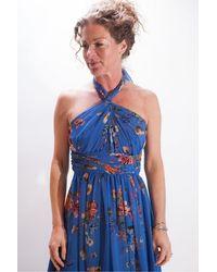 Marella Ducato Print Maxi Dress With 3 Way Fastening - Blue