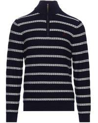 GANT Textured Breton Half Zip Sweater 8030098 - Blue