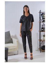 Oakwood Gift Leather Elasticated Slim Leg - Black