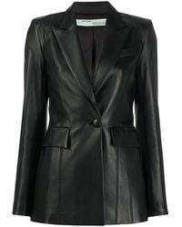 Off-White c/o Virgil Abloh Women's Owja024r20f990681000 Black Leather Jacket