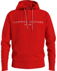 Tommy Hilfiger Logo Hoodie Red Mw) Mw11599sne