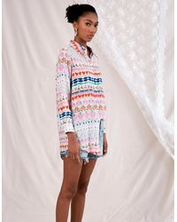 Jessica Russell Flint Okapi Happy Boyfriend Shirt - Multicolour