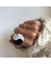 Alice Eden Howlite & Onyx Yin Yang Gemstone Ring Set In 9ct Gold & Sterling - Metallic