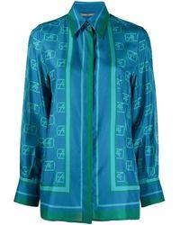 Alberta Ferretti - Women's A022766451319 Blue Silk Shirt - Lyst
