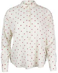 Scotch & Soda Scotch & Soda Round Collar Cotton-blend Patterned Shirt - White