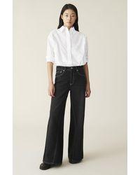Ganni Classic Denim Wide Trousers - Black