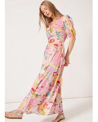PHOEBE GRACE Joyce V-neck Maxi Wrap Puff Sleeved Dress Camo - Pink