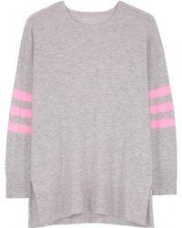 Wyse London Kenza Neon Stripe Lightweight Cashmere Sweater In Gray