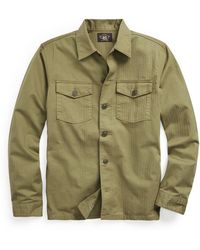 Ralph Lauren Rrl By Barrow L/s Sport Shirt Military Olive - Green