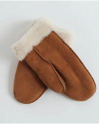 Beaumont Organic Maddy Sheepskin Fur Cuff Mittens - Brown