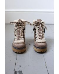 See By Chloé Eileen Shearling Leather & Suede Taupe Hiker Boots - Multicolor