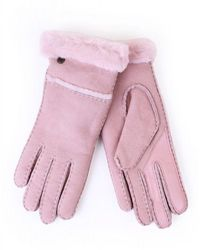 UGG Womens Sheepskin Seamed Tech Gloves - Pink