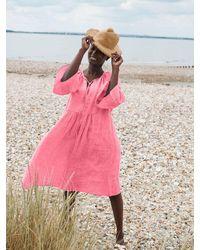 Nrby Elizabeth Linen Fluted Sleeve Dress - Pink
