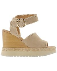 "Paloma Barceló Paloma Barcelã"" Women's Apurecamosciocream Beige Leather Wedges - Brown"