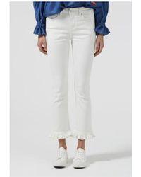 Donna Ida Iris Frilled Cropped Jeans In Milk - White