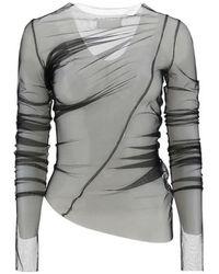 Maison Margiela Sheer Asymmetric Long-sleeve Top - Grey
