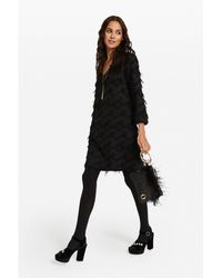 Ottod'Ame Textured Shift Dress - Black