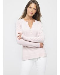 Kinross Cashmere Fitted Henley Petal - Pink
