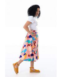 Emily and Fin Sandy Brushstroke Abstract Midi Skirt - Multicolour