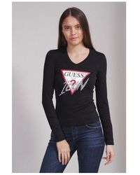 Guess Rhinestone Icon Long Sleeve Tee Colour: Black