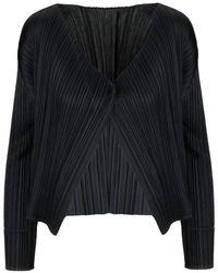 Pleats Please Issey Miyake - Pleats Please Issey Miyake Women's Pp98jo10615 Black Polyester Cardigan - Lyst