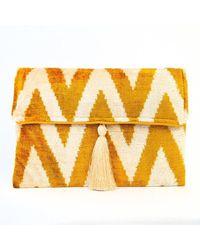 Yunion T Imogen Gold And Ivory Cotton Velvet Tassel Clutch Bag - Yellow