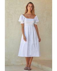 Aspiga Corinne Puff Sleeve Organic Cotton Dress | - White