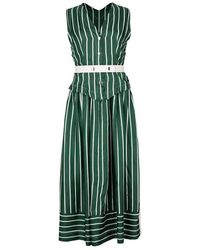 Victoria Beckham Waistcoat Leather Belted Dress - Green